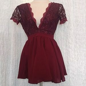 Burgundy Dress by Missguided